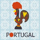 foto of roosters  - Illustration of  decorated Barcelos rooster symbol of Portugal - JPG