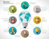 image of solar battery  - Electricity infographics set with electric bulb energy generation equipment and transmission vector illustration - JPG