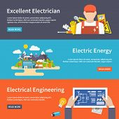 pic of transmission lines  - Electricity flat horizontal banner set with electrician energy engeneering elements isolated vector illustration - JPG