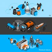 stock photo of petroleum  - Petroleum industry isometric horizontal banners set with oil transportation elements isolated vector illustration - JPG