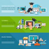 pic of online education  - Online education flat horizontal banner set with distance tutorials and training elements isolated vector illustration - JPG