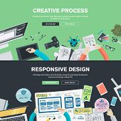 stock photo of creativity  - Flat design illustration concepts for creative process - JPG