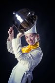 image of ladle  - Photo of a cook drumming with pan and ladle - JPG