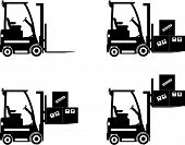 stock photo of machinery  - Detailed illustration of forklifts heavy equipment and machinery - JPG