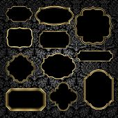 image of damask  - Set of gold vintage frame and label shapes on seamless damask background - JPG