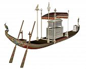 pic of barge  - Egyptian sacred barge with tomb isolated in white background  - JPG