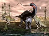 stock photo of apatosaurus  - Allosaurus attacking apatosaurus dinosaur among calamite trees and cycas plants  - JPG