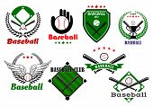stock photo of bat wings  - Creative baseball sports emblems and symbols with game elements as base - JPG