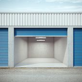 picture of self-storage  - Empty storage unit with opened door - JPG