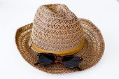 picture of sun tan lotion  - Closeup design sun protection objects and hat - JPG