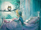 image of owl eyes  - Girl in her bed looking at owl on a tree - JPG