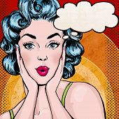 stock photo of woman  - Pop Art illustration of woman with the speech bubble - JPG