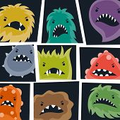 picture of microbes  - Set of little angry viruses - JPG
