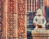 foto of guardian  - Angkor Banteay Srei temple guardian statues - JPG