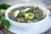 stock photo of sorrel  - sorrel soup with meatballs and eggs in a bowl