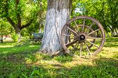 stock photo of wagon wheel  - Close - JPG