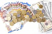 pic of shekel  - Dollars different bills and bills of one hundred shekels - JPG