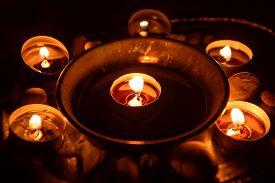 stock photo of wicca  - Ancient pentagram burning at altar close up - JPG