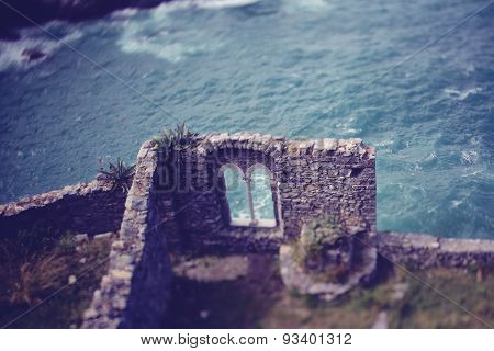 Ruins on cliff in Ireland