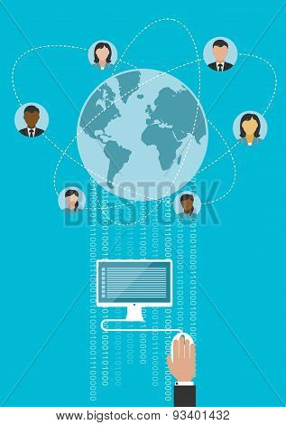 Global communication and www concept