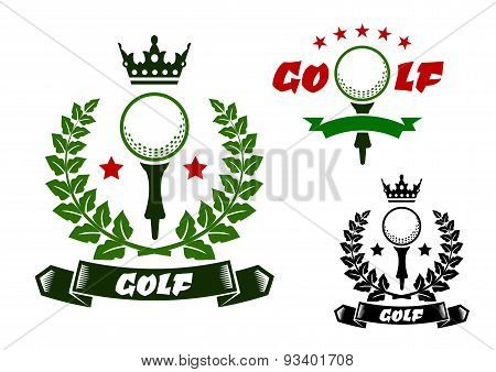 Sporting emblems with golf ball on tee