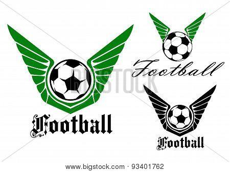Winged football or soccer emblem