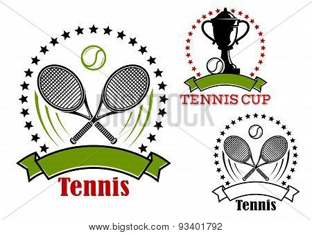 Tennis emblems with balls, rackets and cup
