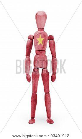 Wood Figure Mannequin With Flag Bodypaint - Vietnam