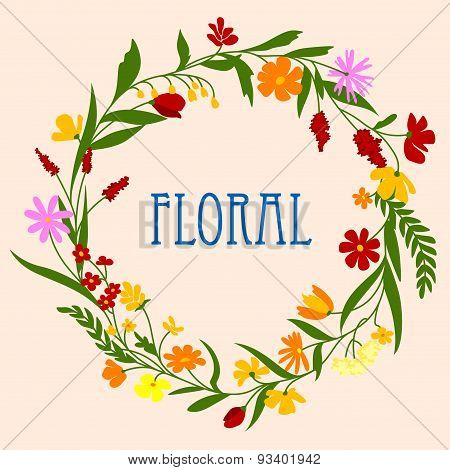 Floral wreath with flowers and herbal foliage