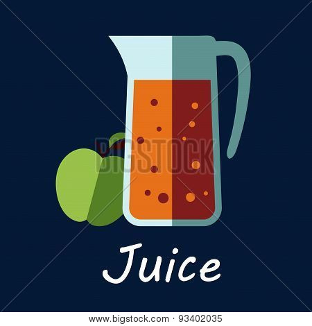 Jug of apple juice and fruit icon