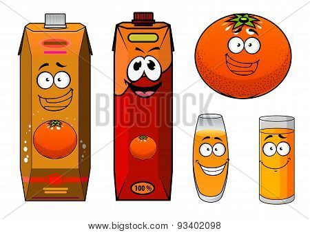 Funny orange juice packs cartoon characters