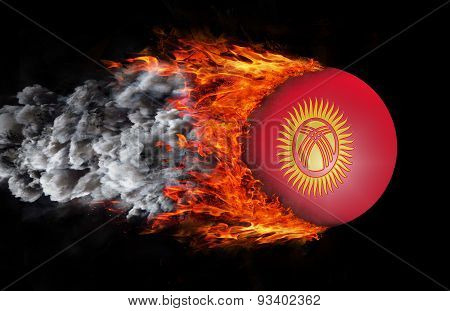 Flag With A Trail Of Fire And Smoke - Kyrgyzstan