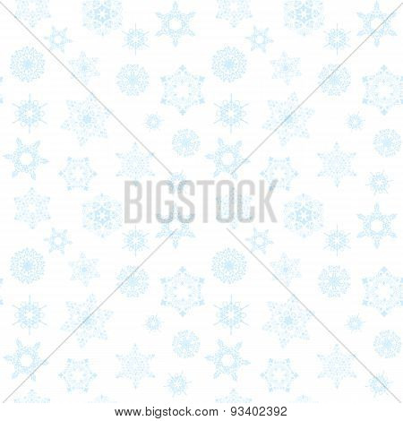 Winter pattern with blue snowflakes