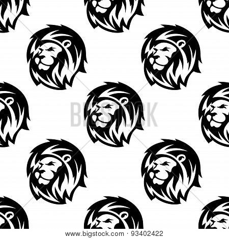 Seamless pattern of eraldic lions with shaggy mane