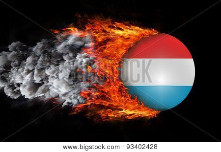 Flag With A Trail Of Fire And Smoke - Luxembourg
