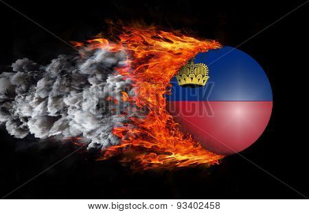Flag With A Trail Of Fire And Smoke - Liechtenstein