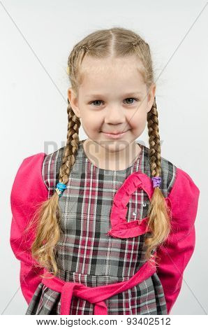 Half-length Portrait Four-year Girl Europeans