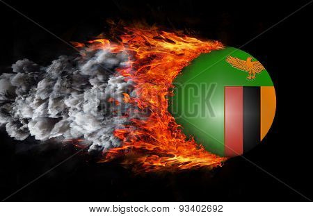 Flag With A Trail Of Fire And Smoke - Zambia