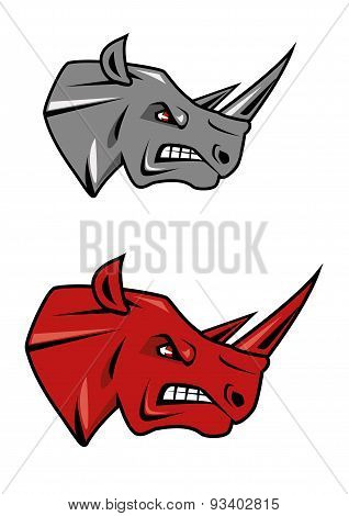 Angry rhino head mascot design