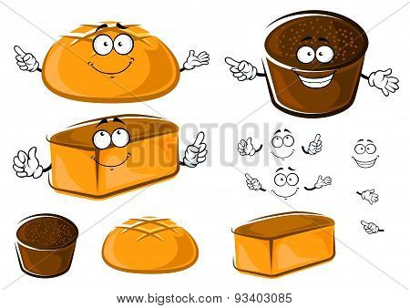 Cartoon wheat and rye brown breads characters