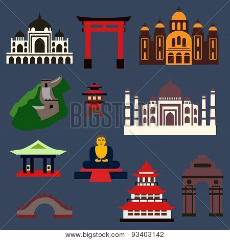Old famous travel landmarks and buildings