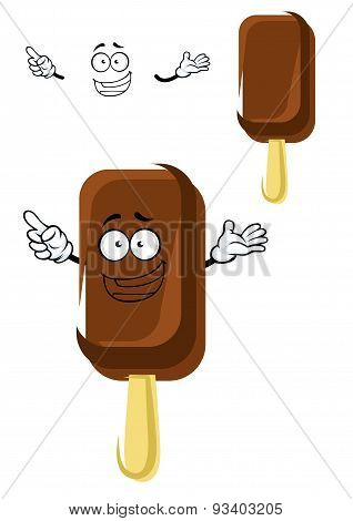 Chocolate ice cream cartoon character on stick
