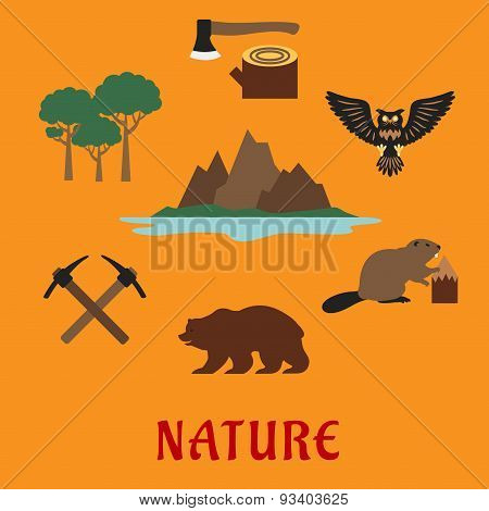 Canadian nature symbols flat icons