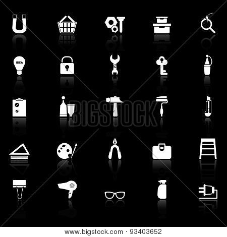 Diy Icons With Reflect On Black Background
