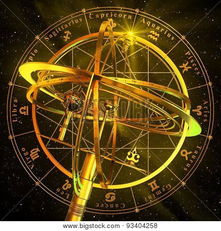 Armillary Sphere With Zodiac Symbols Over Black Background.