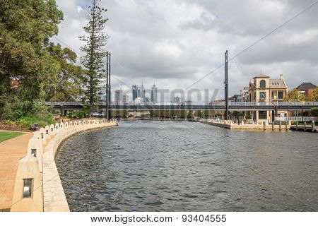 Pedestrian Bridge Across Swan River Small Harbour In East Perth