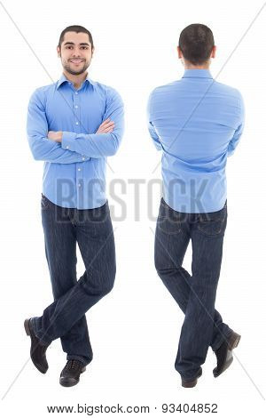 Front And Back View Of Young Arabic Business Man In Blue Shirt Isolated On White