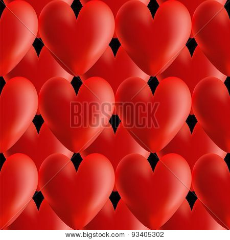 Design Seamless Red Volumetric Hearts Pattern