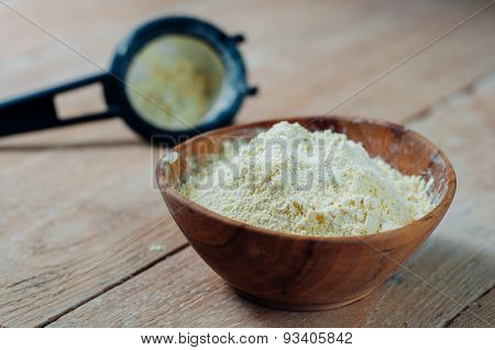 Chickpea Flour In Old Wooden Bowl
