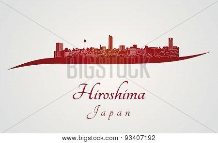 Hiroshima Skyline In Red